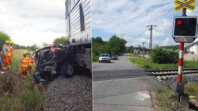 Rychlík smetl na přejezdu auto. Dva lidé v něm zemřeli