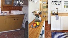 Proměna kuchyně: Roubenka ožila novými barvami