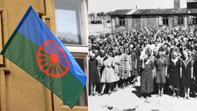 Vzpomínka na romské oběti holokaustu: Židé a křesťané vyvěsili po Praze romské vlajky