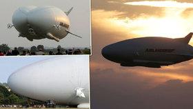 Největší létající stroj poprvé ve vzduchu. Vzducholoď Airlander 10 měří 92 metrů