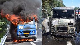 Plameny sežehly avii, řidič oheň hasičákem nepřemohl
