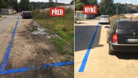Parkovací zóna, kterou natřeli na hlínu, nevydržela. Teď to zkusili podruhé