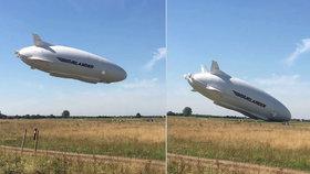Největší vzducholoď světa šla po týdnu k zemi! Čumákem zahučela do pole