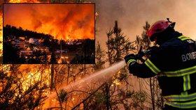 Ohnivé peklo v Portugalsku: 3000 hasičů bojuje s desítkami požárů