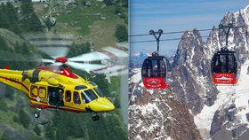 Lanovka na Mont Blanc uvěznila 60 lidí přes noc. Vrtulníky je nestihly zachránit