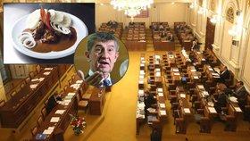 Poslanci neplatí DPH za jídlo. Překvapený Babiš hrozí, že jim ho zdaní zpětně