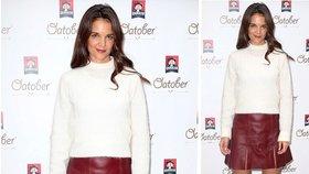 Styl podle celebrit: Zkombinujte svetr a koženou sukni jako Katie Holmes a omládněte