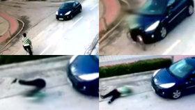 Šílené VIDEO: Těhotná cyklistka nedala přednost autu, řidič nehodě nemohl zabránit