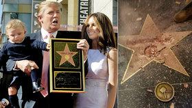 """Trumpova hvězda """"zhasla"""": Na chodníku slávy ji zdemoloval vandal"""
