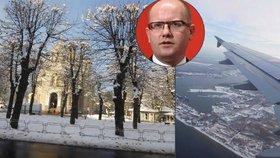 """Sobotku vítal na summitu sníh. Čínu chce """"zaplavit"""" českými potravinami"""