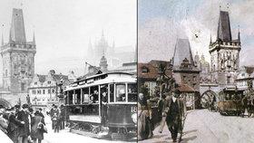 Přes Karlův most jezdily unikátní tramvaje: Křižík jim vymyslel elektřinu zespod