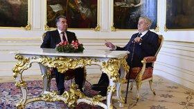 Zeman se setkal s tádžickým prezidentem. Jednali o bezpečnosti či ekonomice