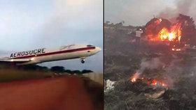 Letadlu nestačila ranvej a prorazilo plot. Explozi natočili svědci na mobily