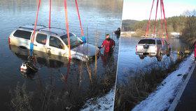 Mladý řidič podcenil námrazu: S autem skončil v rybníku!
