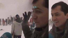 Lavina mi smetla lyžaře? No a co! Manažer zimního rezortu ignoroval sněžnou smršť v živém vysílání