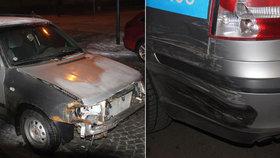 Zfetovaný řidič ve felicii ujížděl policistům: Boural do nich a projel zátarasem
