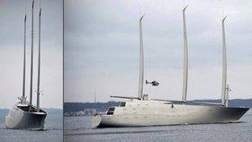 Nejvyšší jachta světa vyrazila na moře. Předčí sochu Svobody a patří Rusovi