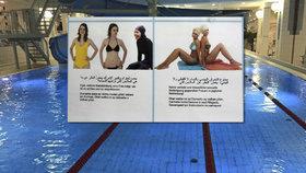 Ženy se neobtěžují, ani když jsou v bikinách: Berlínské bazény vyvěsily cedule