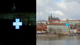 Modrý kříž, který září nad Vltavou, zavěsila na jeřáb Prima. Láká tím na seriál
