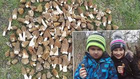 Klárka (9) s Michalem (7) našli první úlovek a pak: Za dvě hodiny 3 košíky hub!