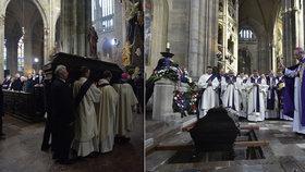 Tělo kardinála Vlka bylo uloženo do hrobky. Loučit se přišly davy lidí i cizinci