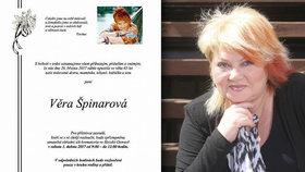 Poslední rozloučení se Špinarovou: Rodina rozeslala parte. Kdy bude pohřeb?