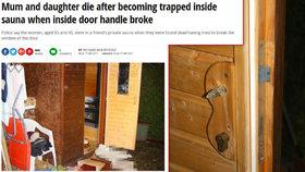 Smrt dvou žen v sauně šokovala svět! O případu píší i v zahraničí