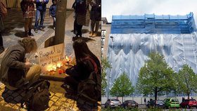 Lidé se rozloučili s domem na rohu Václaváku. Zapalovali i svíčky