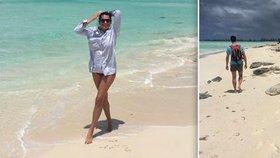 Alena Šeredová v exotickém ráji: Po pláži běhala v milencově košili