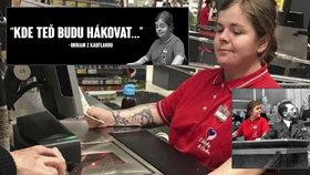 Prodavačka s hákovým křížem baví internet. Lidová tvořivost opět boduje