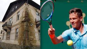 Berdych chce zbourat lázně Jánské Koupele kvůli tenisové škole: Památkáři zchátralé budovy brání