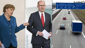 """Češi budou v Německu """"cálovat"""". Sobotka Merkelovou kvůli dálnicím nezažaluje"""
