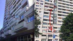 Tragédie v Kobylisích. Muž vyskočil z 10. patra, dopadl k sousedům na balkon