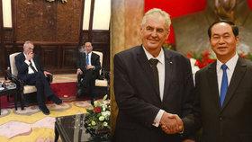 Doutníček, šampaňské a zrušení víz: Zeman jednal s vietnamským prezidentem