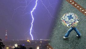 Do ženy s deštníkem v Praze udeřil blesk. V kritickém stavu skončila v nemocnici