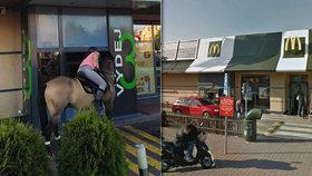 Neobvyklý zákazník v McDonaldu. Ke kase přijela žena na koni