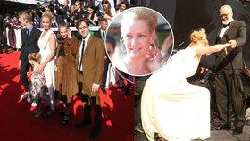 Největší hvězda Varů Uma Thurman: Poklekla před Bartoškou a ukázala děti