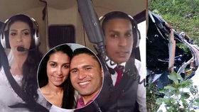 Poslední záběry před smrtí: Nevěsta (†30) zemřela cestou na obřad, spadla s ní helikoptéra