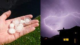Udeřily bouřky, hrozí kroupy. Vichr odřízl 17 tisíc Čechů od elektřiny. Sledujte radar