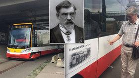 Další tramvaj 15T má název. Jmenuje se po vynálezci Křižíkovi