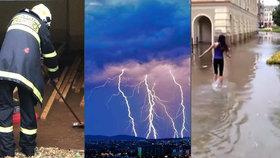 Místo náměstí rybník, zatopené sklepy i zničené střechy: Moravu pustošily bouřky