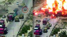 Egyptský tank převálcoval auto teroristů. Bylo napěchované výbušninami