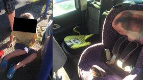 Propocené a plačící děti byly zamčené v rozpáleném autě na pražském parkovišti, rodiče v klidu nakupovali