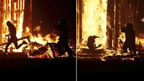 Muže na pouštním festivalu pohltily plameny: Hasiči za ním vyběhli do inferna, aby ho zachránili
