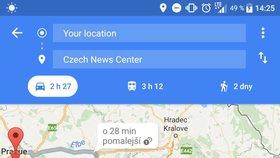 Mapy od Googlu vás upozorní na obtížné hledání parkování, volné místo ale zatím nenajdou