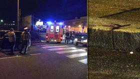 Zakrvácený chodník na Žižkově: Řidič Uberu v Praze srazil na přechodu chodkyni