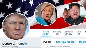 """""""Rakeťák"""" Kim a """"sestřelená"""" Clintonová: Trump perlí na Twitteru, sklízí i kritiku"""