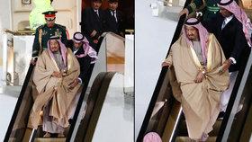 Královský trapas vyeskaloval: Salmánovi se zasekly jezdící schody ze zlata
