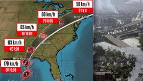 Hurikán Nate zeslábl na bouři a jde na severovýchod USA. Stav ohrožení trvá