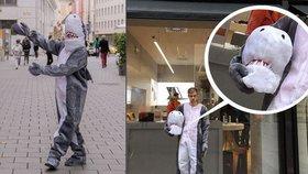 """Zákaz burek v praxi: Rakušan si oblékl kostým žraloka, policie mu """"nasolila"""" pokutu"""